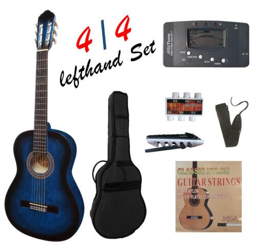 Gitarre4//4Konzert-classic-linkshänder//lefthand-blau,Set//Zubehör+mit Stimmgerät!n