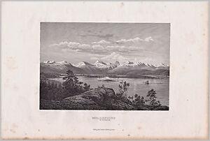 Molde, Moldefjord, Norge, Norway - Ansicht von 1861 - Stich, Original Stahlstich