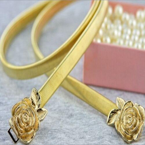 Metal Rose Flower Elastic Belt Waist Gold Strap Waistband Dress Accessories IT