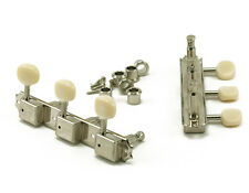 Nickel//White Kluson SD9005MNP Plastic Button Tuners Gibson Style 3 Per Side