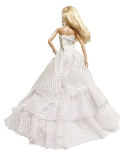 for 11.5 inches Doll 2 Gown Set White /& Red Strapless Layered Wedding Gown