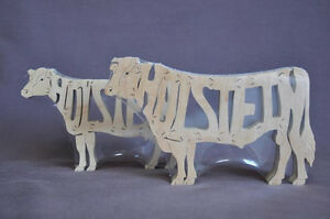 Details about holstein cattle cow bull amish wood puzzle farm toy