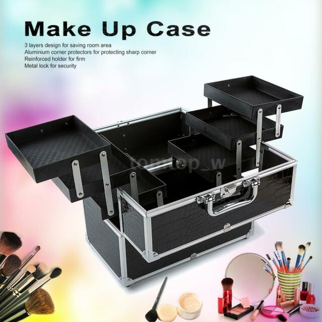 Large Cosmetic Organizer Box Make Up Case Lockable 3 Layers Black J4H5