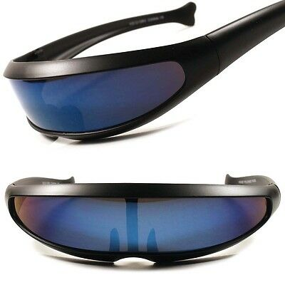 Blue Lens Alien Space Robot Party Costume Cyclops Futuristic Novelty Sunglasses