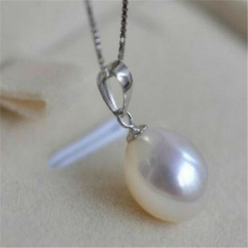 magnifique Nature 10x12mm South Sea perles blanches collier pendentif or 14k 18 in environ 45.72 cm