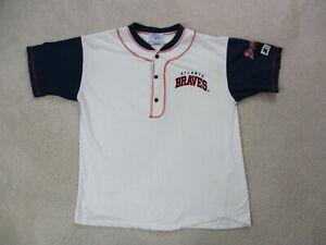 VINTAGE-Starter-Atlanta-Braves-Shirt-Adult-Large-White-Blue-Baseball-Mens-90s