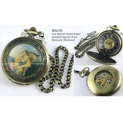 Antique Retro Steampunk Full Copper Bronze Pocket Watch Mechanical Hand-winding