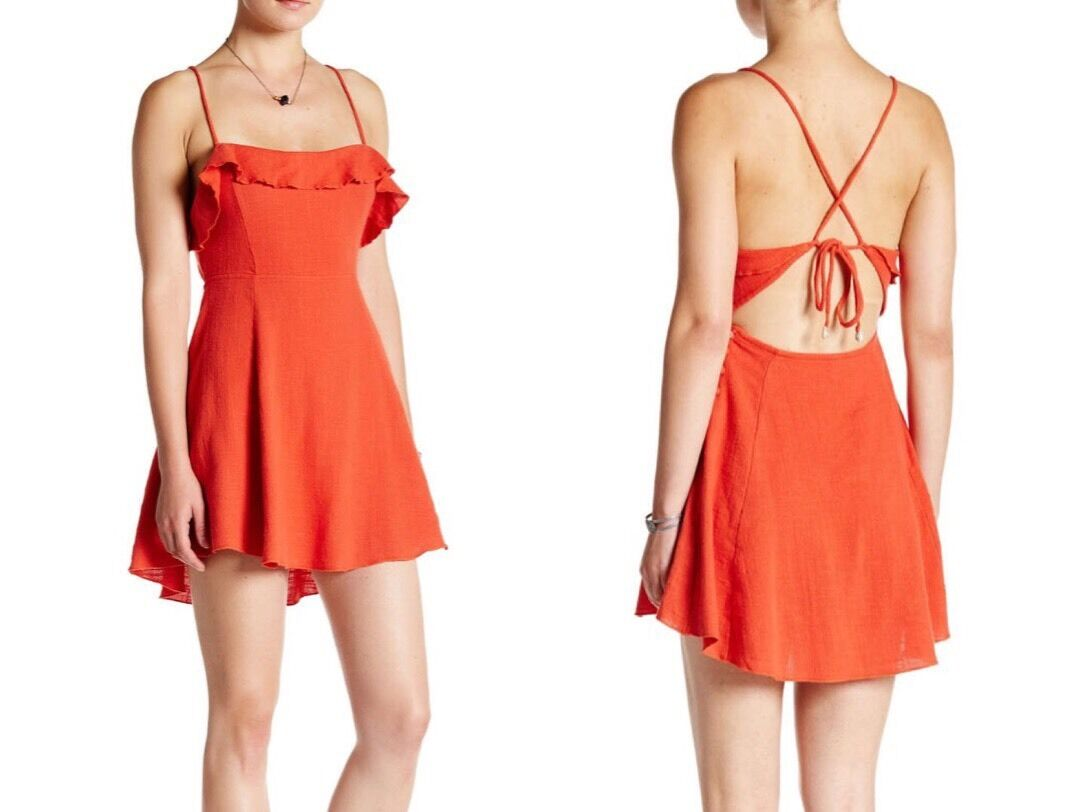 292dc932b2d4 NWT FREE PEOPLE Anthropologie More Then a Mini Ruffle orange Dress Large