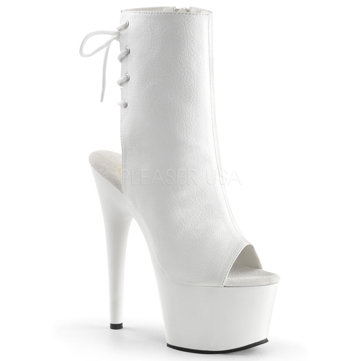 PLEASER Sexy Stripper Dancer White Platform 7  High Heel Ankle Boots ADO1018 WPU
