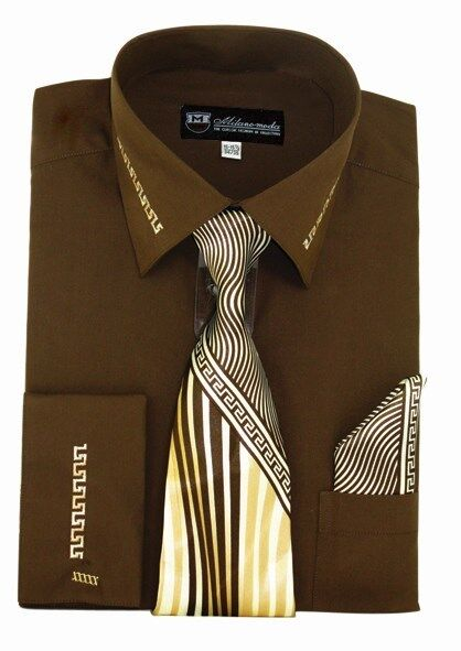 Men/'s French Cuff Dress Shirt with Matching Tie and Handkerchief MS28