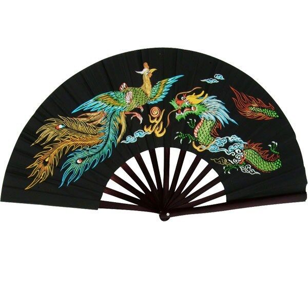 Bamboo Kung Fu Fighting Fan Dragon and Phoenix Black - Ping