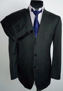 ccda978d9 HUGO BOSS Da Vinci Lucca mens grey striped suit SUPER 150 EU52 ...