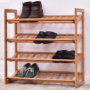 Image is loading 4-Tier-Bamboo-Shoe-Rack-Entryway-Shoe-Shelf-