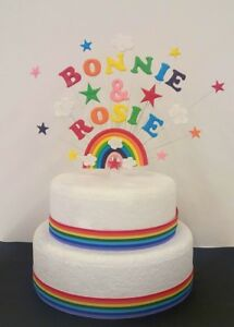 Image Is Loading Rainbow Double Name Birthday Cake Topper Personalised Names