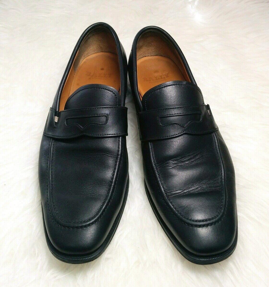 BALLY Todor Black Leather Loafers Slip On Apron Toe Men shoes US 10 D (EU 9E)