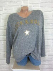 38-40-42-feinstrick-Pullover-Pulli-Tunika-Shirt-Oversize-lurex-Grau-E871-NEU