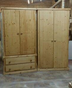 Handmade Aylesbury Solid Pine Antique Wax 2 X Wardrobe Ready Assembled Ebay