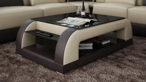 Dettagli su Pelle Tavolino da salotto Moderno Tavolo di Vetro Design  Soggiorno CT9012bb