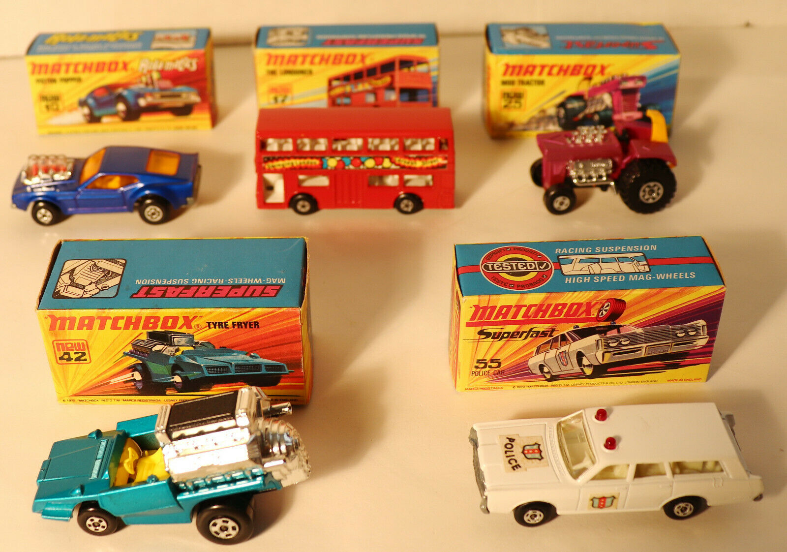 ETTD 5 années 1970 Boxed LESNEY MATCHBOX SUPERFAST 10-B, 17-B, 25-B, 42-B, & 55-B NIOB