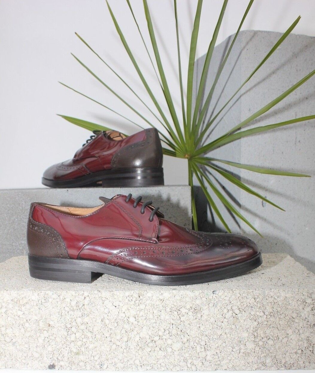 H By Hudson Hudson Hudson Hi Shine Burgundy Leather Lace Up Brogue Derby Formal schuhe 8 42 New  bc4cb6