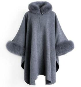 Poncho-Outwear-Women-Wool-Blend-Cashmere-Parka-Cape-Coat-Jacket-Fur-Long-Batwing