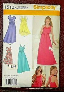 Details about Simplicity Patterns 1510 - Girls/Girls Plus Special Occasion  Dress Size 8-16 New