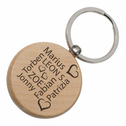 Schlüsselanhänger Holz Beste Freunde /& Namen beidseitig