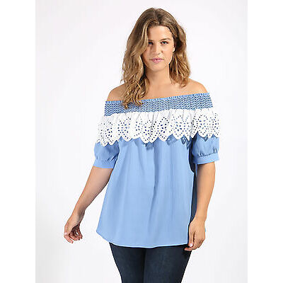 Koko Women's Plus Size Blue Embroidered Broderie Anglais Frill Bardot Top