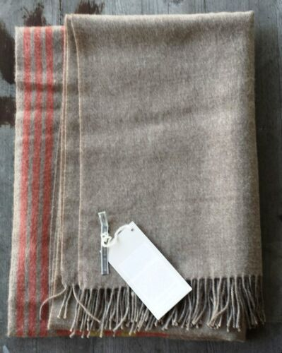 Alicia Adams 100% Baby Alpaca Throw Taupe and Orange Ret. $445 New