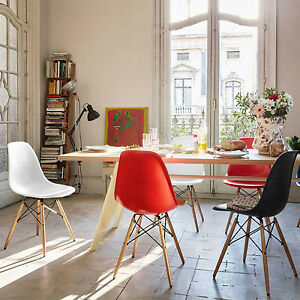 DINING-LOUNGE-RETRO-CHAIRS-EIFFLE-DSW-STYLE-PLASTIC-SEAT-W-WOODEN-LEGS-GARDEN