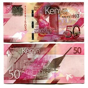 50,100,200,500,1000 Shillings Kenya UNC 5x New Banknotes Issue 2019