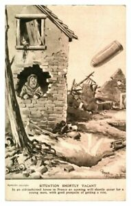 Antique-military-WW1-postcard-Bruce-Bairnsfather-Situation-Shortly-Vacant