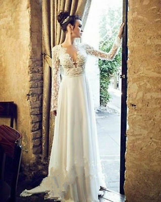 Charming New Sexy Backless Lace Long Sleeve V-neck Wedding Dress Bridal Gown