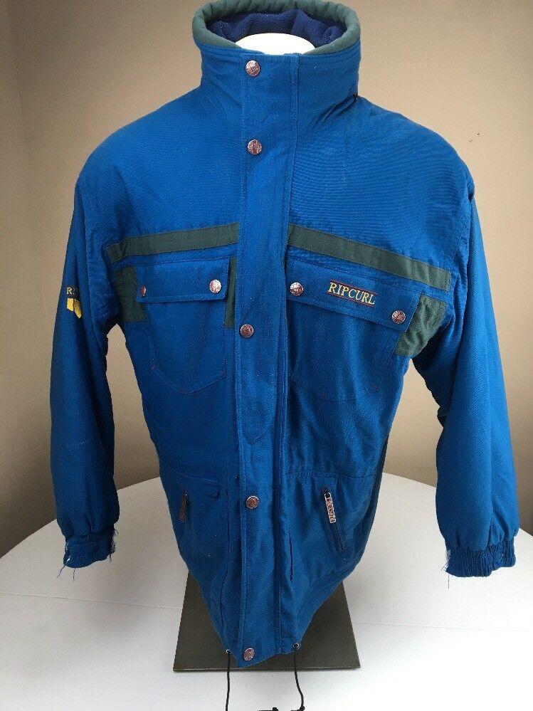 Vintage 90's Rip Curl bluee Nylon Gelanots Snowboarding Coat Size Large L bluee