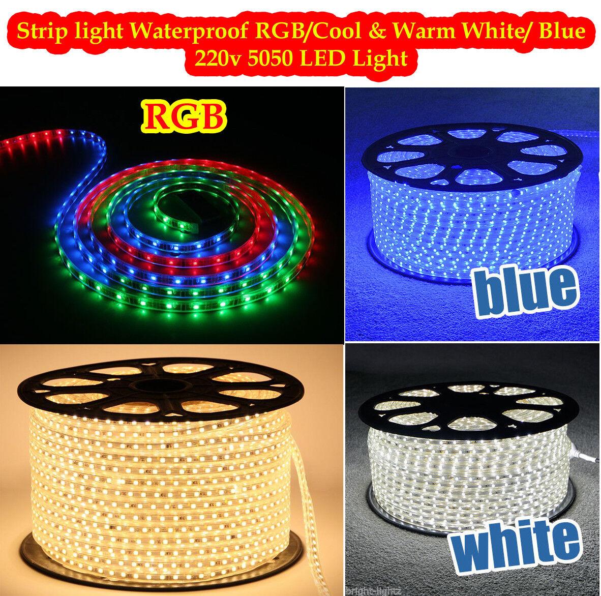 Tira de LED 220 V 230 V 240 V Rgb Impermeable 5050 SMD Luces Cuerda + Gratis AC adoptante
