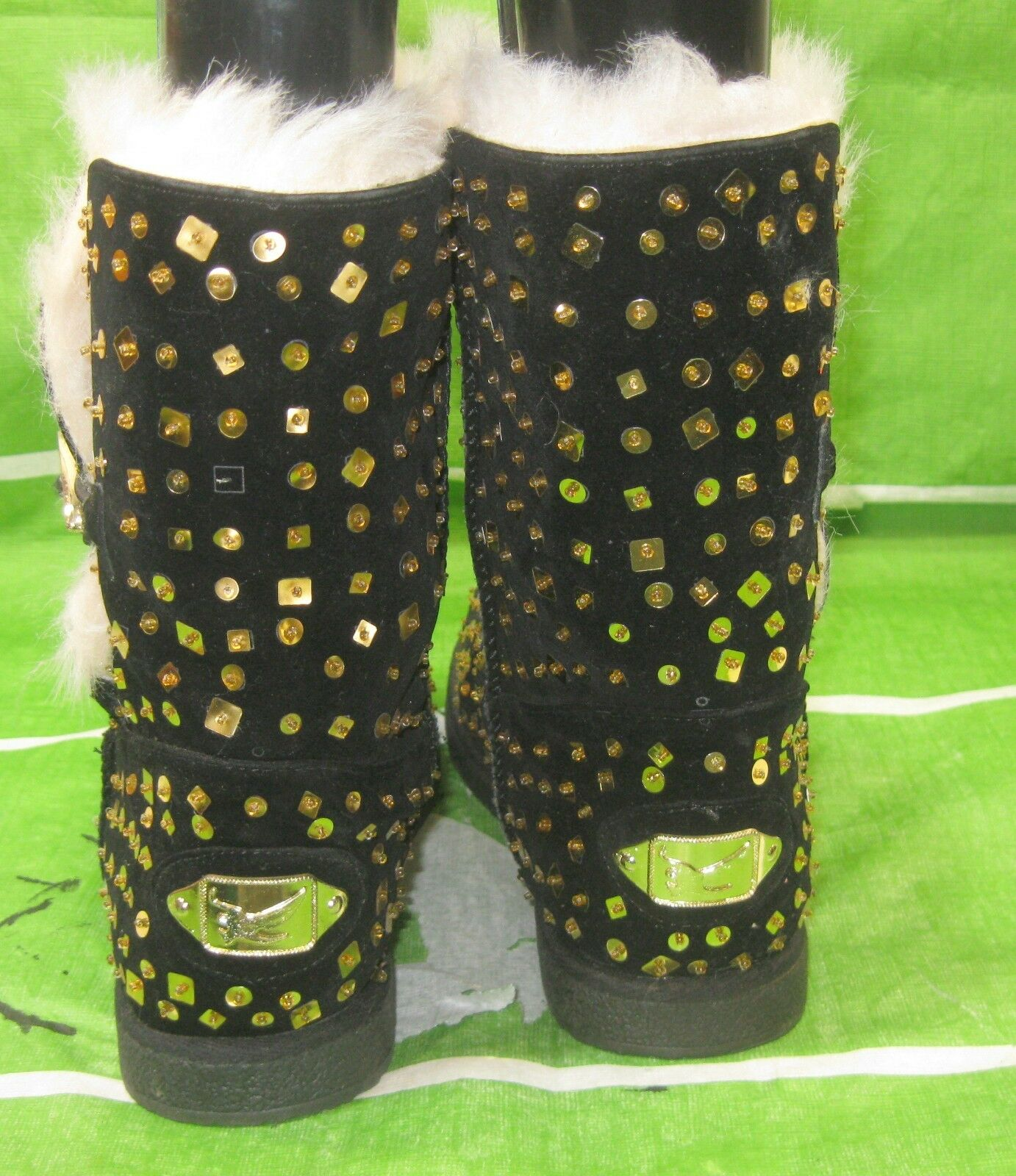 New ladies Ankle Nero/Gold Sequin Round Toe Winter Ankle ladies Boot Size 7 54bcf3