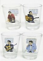 NEW SET OF 4 SHOT GLASS,DIFFERENT PICTURES OF ELVIS PRESLEY,KING OF ROCK IN BOX