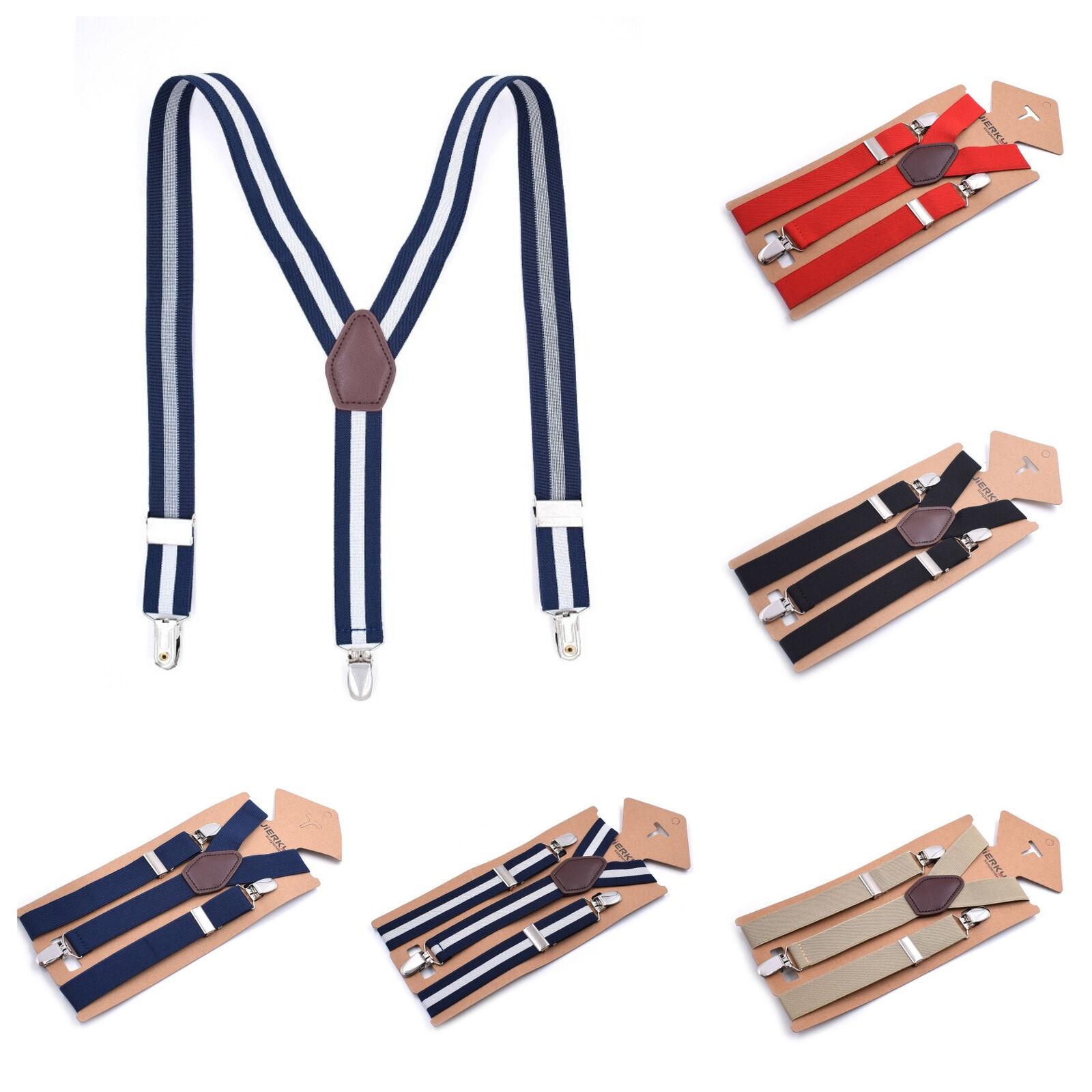 Mens 25mm Adjustable Braces Heavy Duty Clip On Trouser Braces Elastic Suspenders