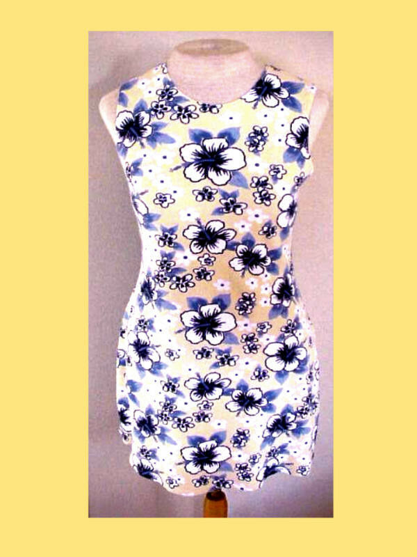 The PERFECT Little Tropical Dress Sexy VINTAGE Aqua bluees Sml WOWWOWWOW