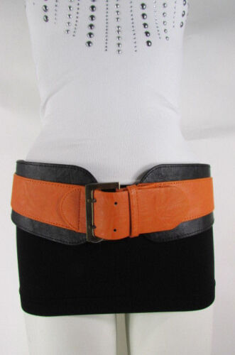 Women Black Orange Western Faux Leather Elastic Fabric Wide Fashion Belt S M