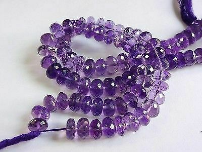 Details about  /NATURAL AMETHYST FACETED RONDELLE BEADS 8 inch strand 7-8 mm