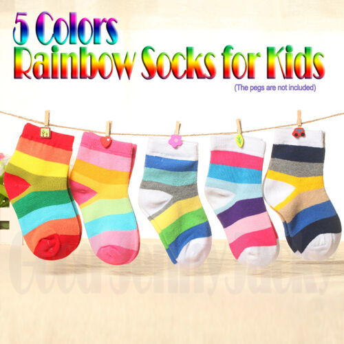 5 Pairs New Hot Cute Rainbow Socks for Kids Unisex Boys Girls Toddlers Walkers