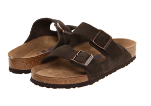Details about Birkenstock Arizona in Mocha Suede with NARROW Soft Foot Bed Sz 35 39 NEW