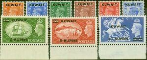 Kuwait 1950-51 set of 9 SG84-92 Fine & Fresh Mtd Mint