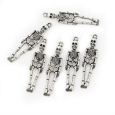 Human skeleton halloween Tibetan Silver Bead charms Pendants 10pcs 39*10mm