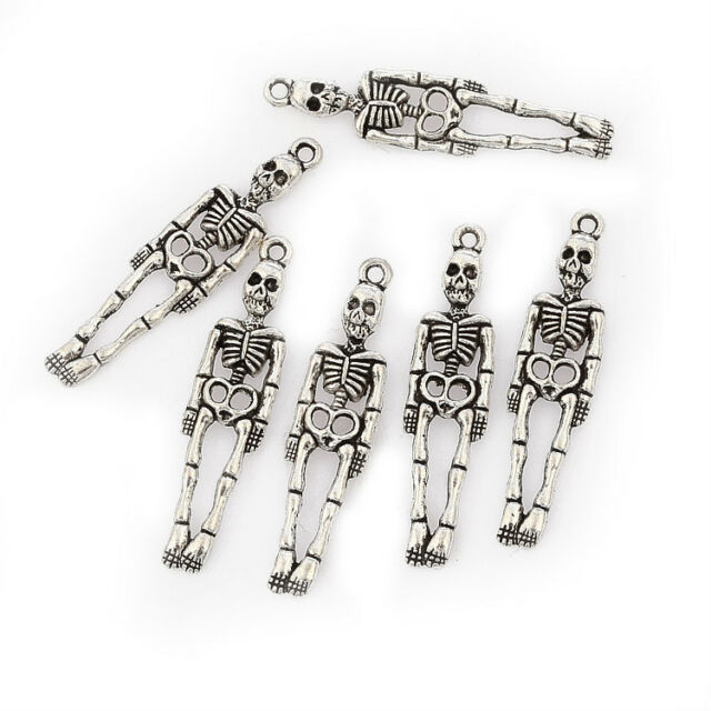 Human skeleton halloween Tibetan Silver Bead charms Pendants 10pcs 39*10mm