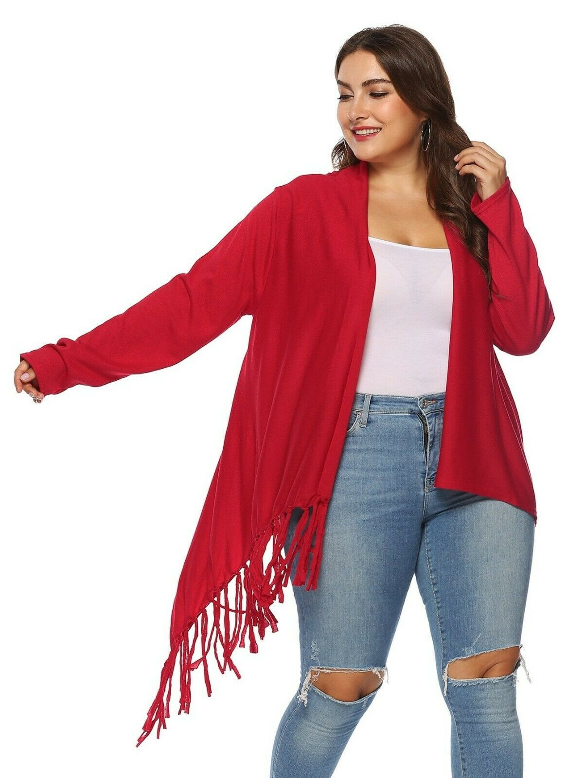 Red Cardigan Knit Coat Poncho Unique Style size 2XL 3XL