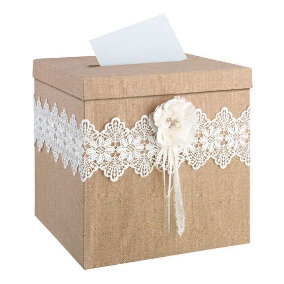 Burlap And Lace Wedding Card Holder