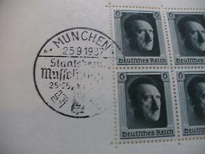 Dr 1937 Birthday Hitler block 7 tested BPP 25.09.1937 RARE SST Munich