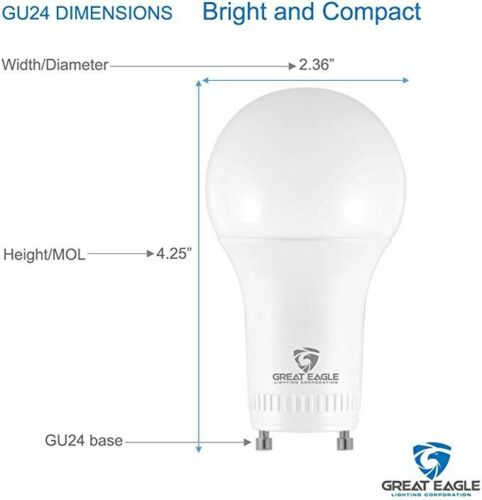 Great Eagle A19 GU24 LED Bulb Dimmable 100W Replacement 2700K//3000K//4000K//5000K